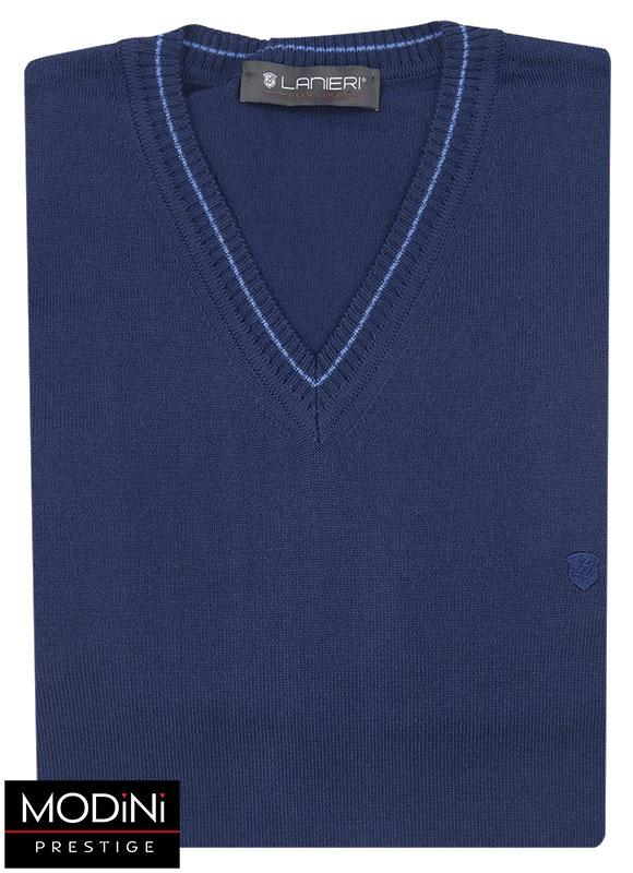 Granatowy sweter w szpic SW8