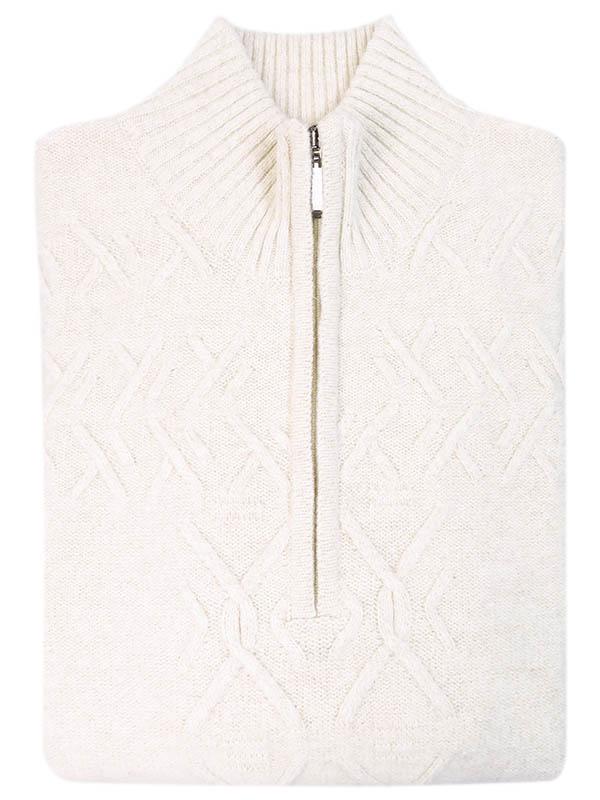 Beżowy sweter męski - półgolf rozpinany na zamek SW42