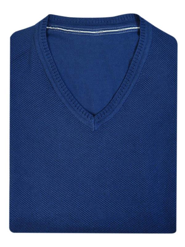 Granatowy sweter w szpic SW45