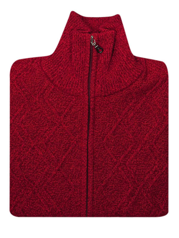 Ciepły czerwony rozpinany sweter męski SW49