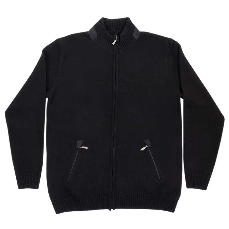 Czarny sweter męski - półgolf rozpinany na zamek SW60