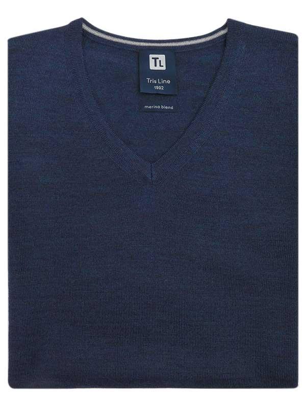 Granatowy sweter męski w szpic/serek Tris Line SW63