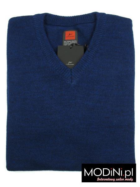 Granatowy sweter w szpic