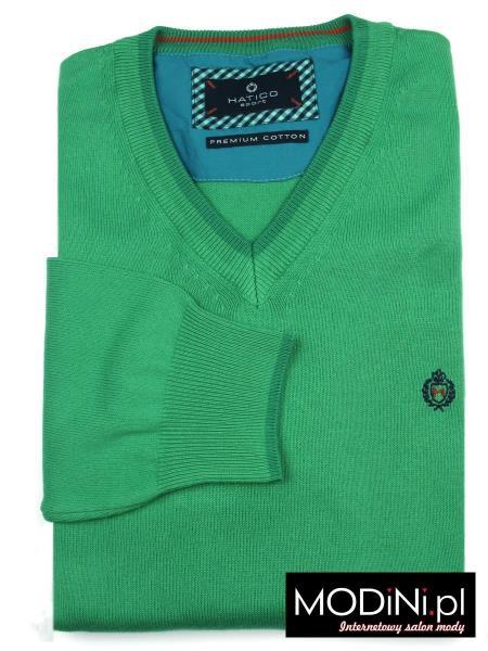 Zielony sweter w szpic Hatico