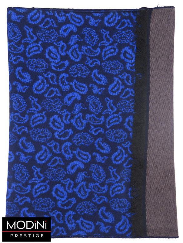 Granatowo-niebieski szal męski we wzór paisley I44