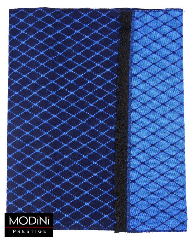 Granatowo-niebieski szal męski w romby I26