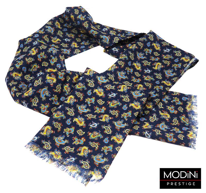 Granatowy szal męski wełniany w żółty paisley R18