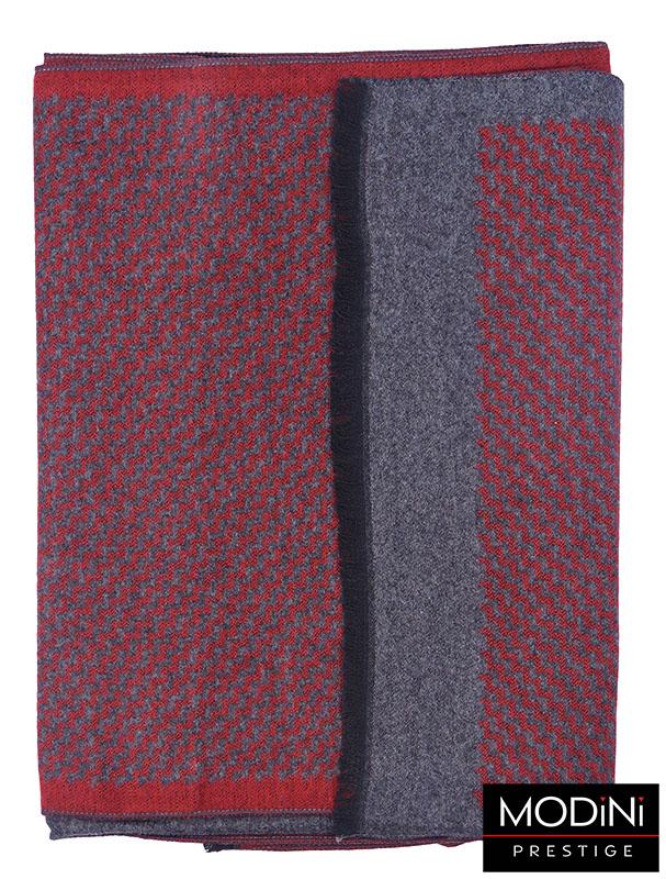 Szaro-czerwony szal męski I37