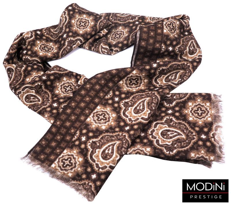brązowy szalik męski z wełny - wzór paisley