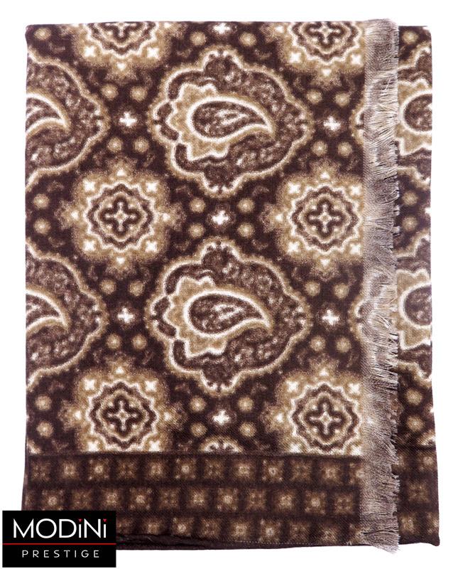 brązowy wełniany szalik we wzór paisley
