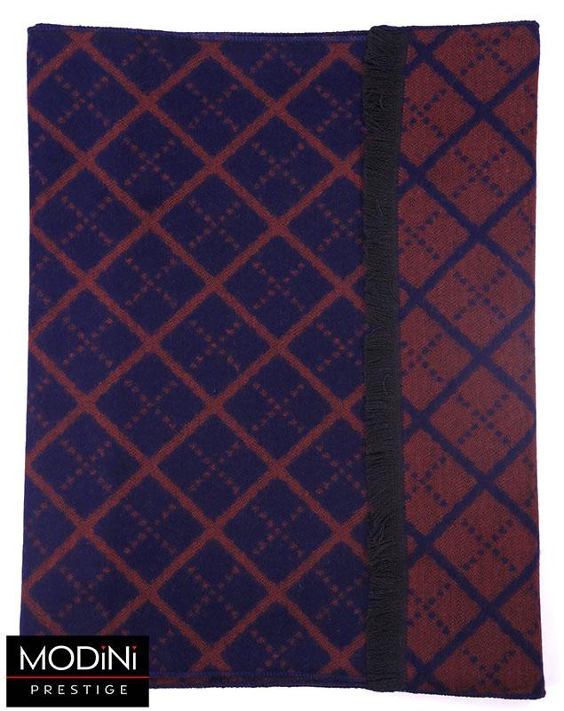granatowo-bordowy szalik męski w romby