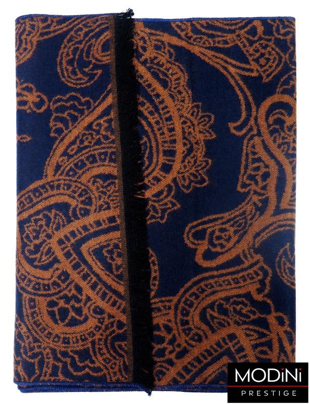 granatowo-brązowy szalik męski w paisley