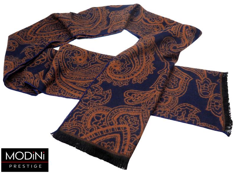 granatowo-brązowy szalik męski - wzór paisley