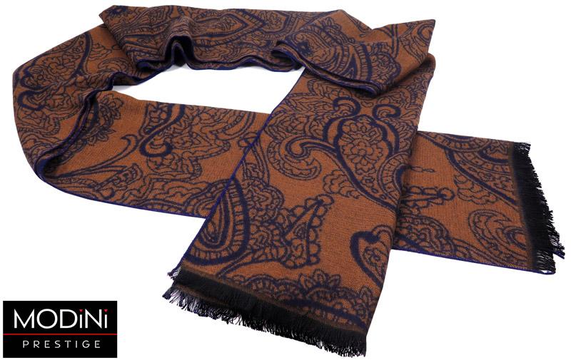 brązowo-granatowy szalik męski w paisley