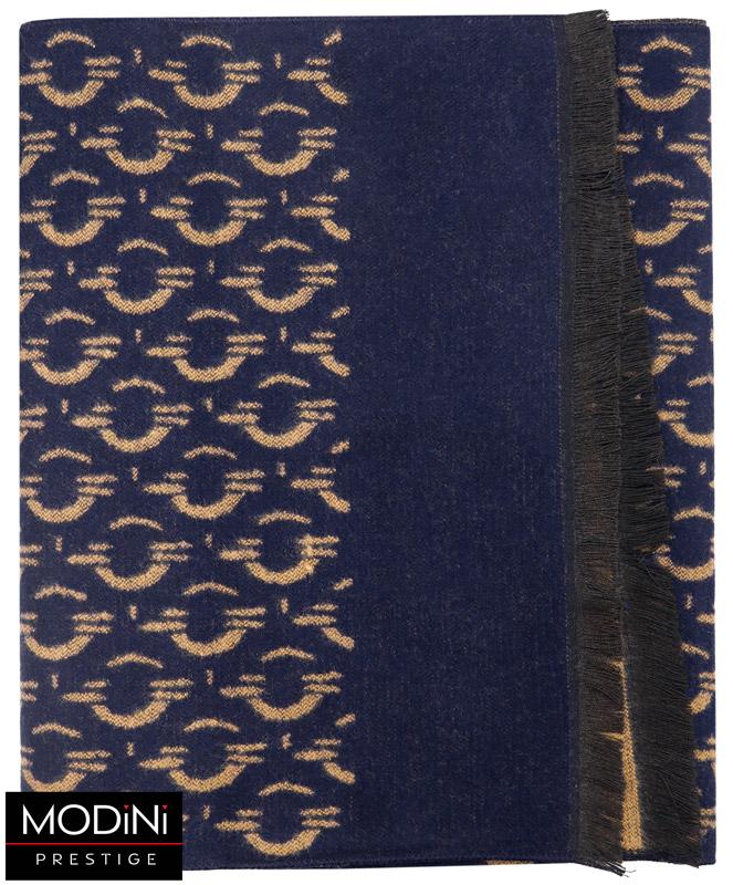 granatowo-beżowy szalik męski z wzorem