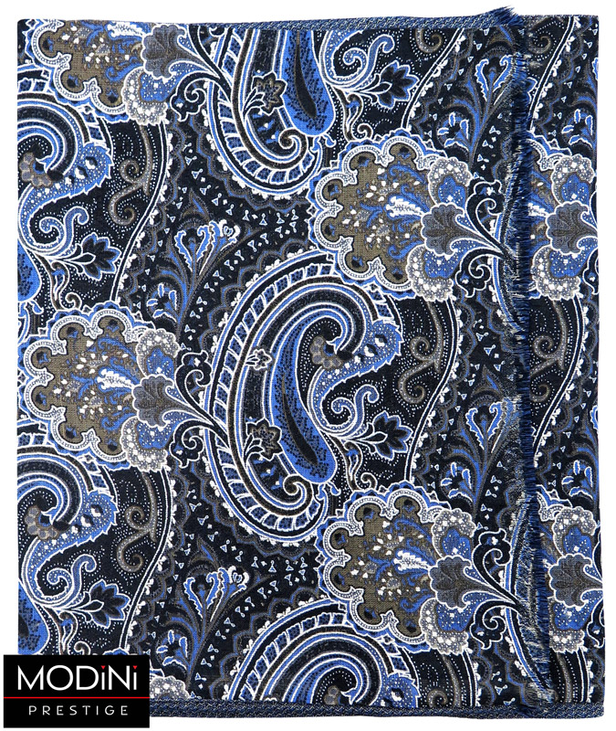 czarny szalik w niebieskie paisley