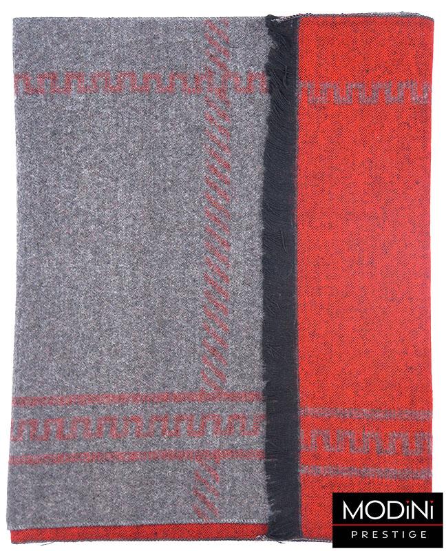 szaro-czerwony szalik męski
