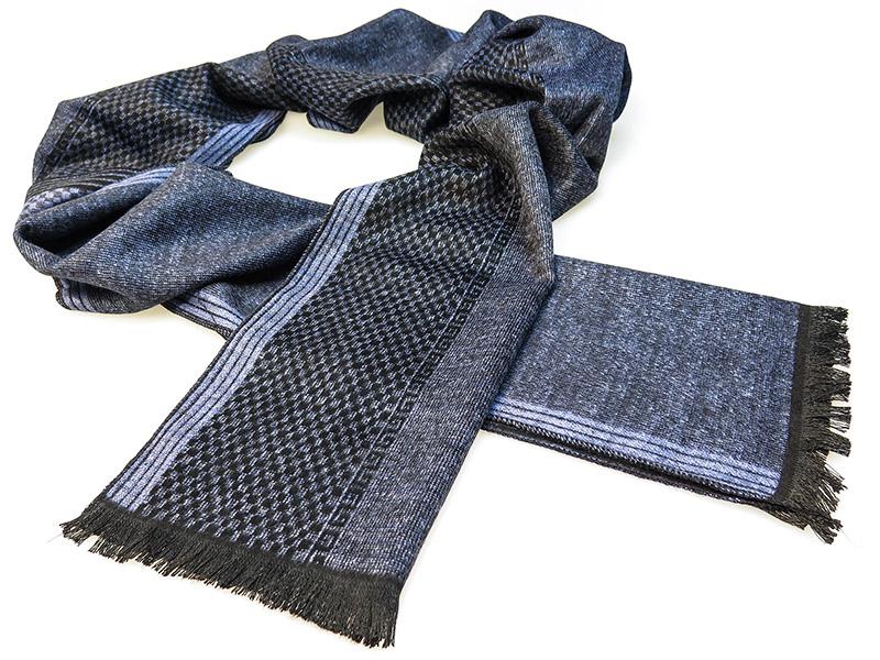 Czarno-niebieski szalik męski R13