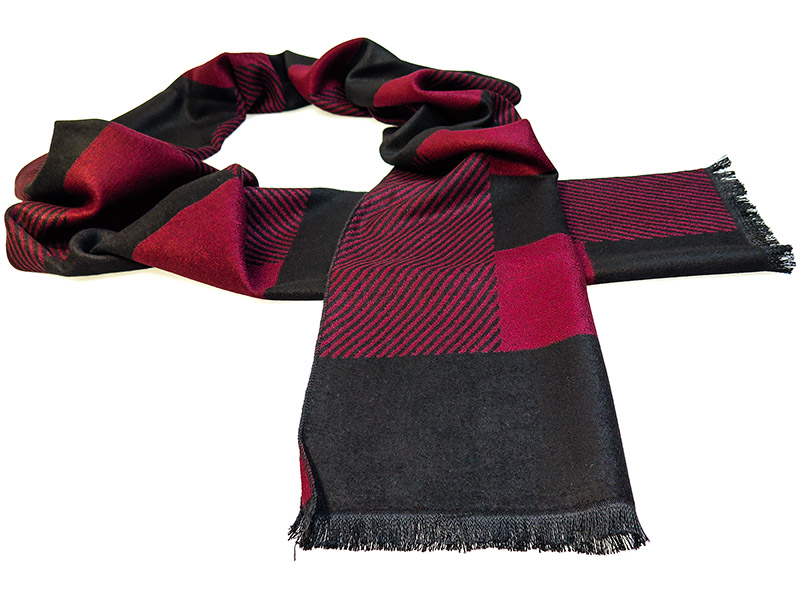 Bordowo-czarny szalik męski R17