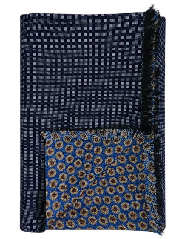 Niebiesko-brązowy wełniany szal męski - kropki J25