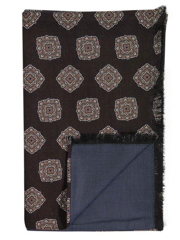 Brązowy dwustronny wełniany szal męski we wzór - ornamenty