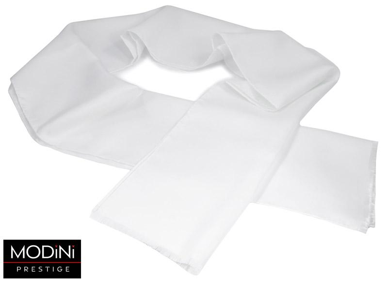 biały szalik jedwabny