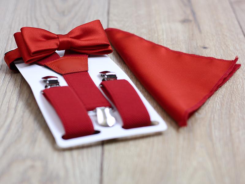Czerwony zestaw dziecięcy - szelki i mucha ZD3