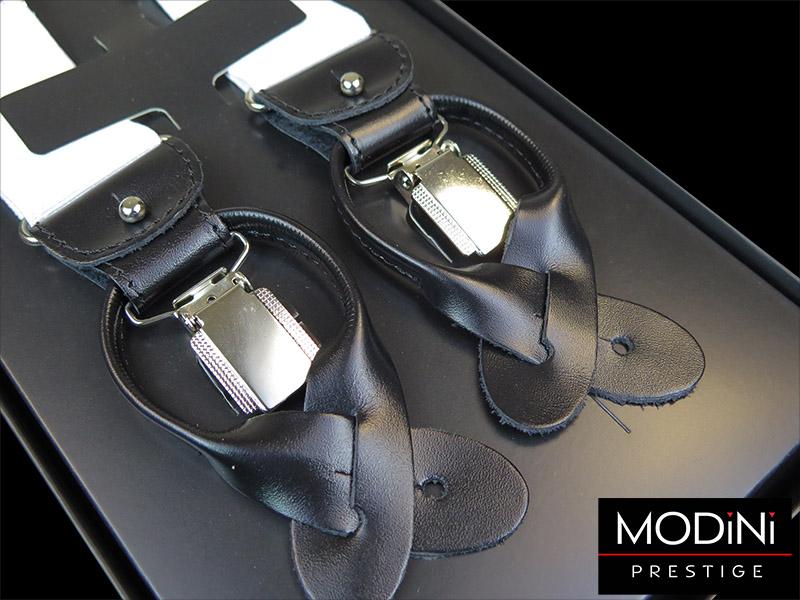 Białe szelki do spodni na guziki z czarną skórą