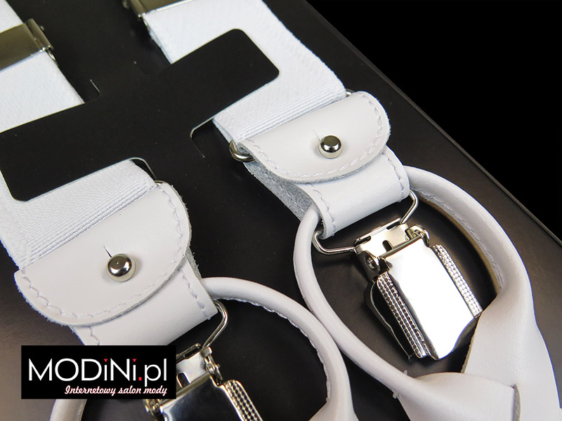 Białe szelki do spodni na guziki