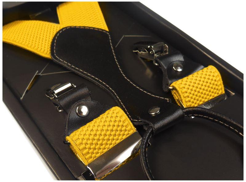 Żółte szelki męskie do spodni