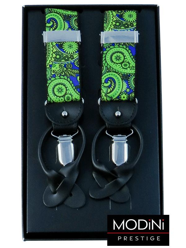 Zielono-niebieskie szelki we wzór paisley na żabki i na guziki G54