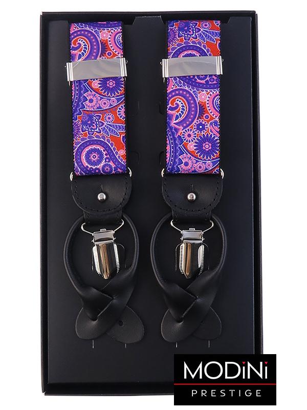 Fioletowo-rożowe szelki we wzór paisley na żabki i na guziki G56