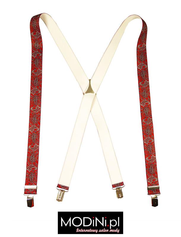 Czerwone szelki męskie Lloyd wzór paisley