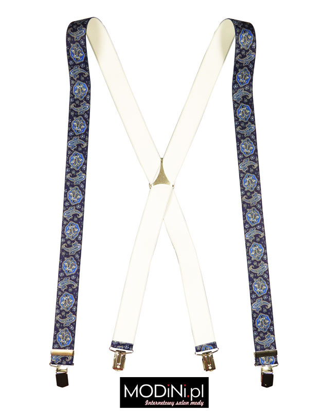 Niebieskie - granatowe szelki męskie Lloyd wzór paisley