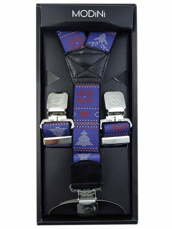Niebieskie szelki w świąteczny wzór SZ106
