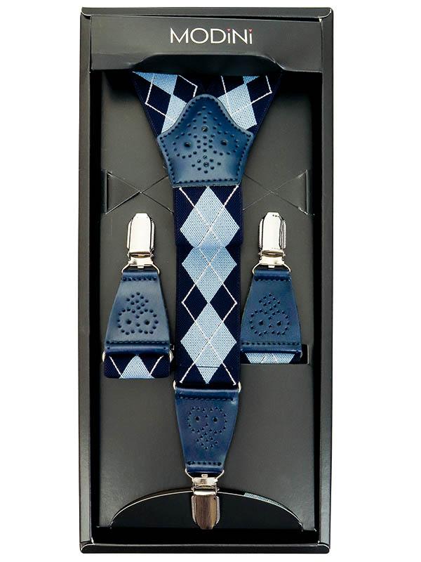 Niebieskie szelki - Argyle / Romby SZ85