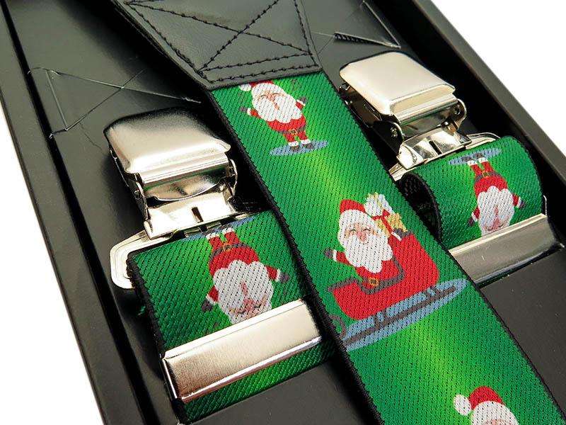 Zielone szelki w świąteczny wzór - Gwiazdory, Mikołaje SZ92
