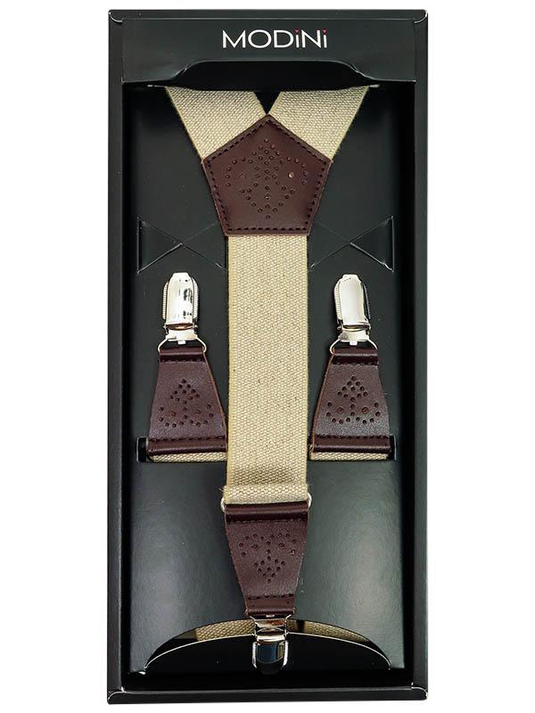 Beżowe szelki z brązowymi ażurowymi skórkami SZ97