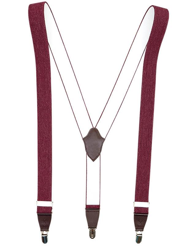 Bordowe szelki z brązowymi ażurowymi skórkami SZ98