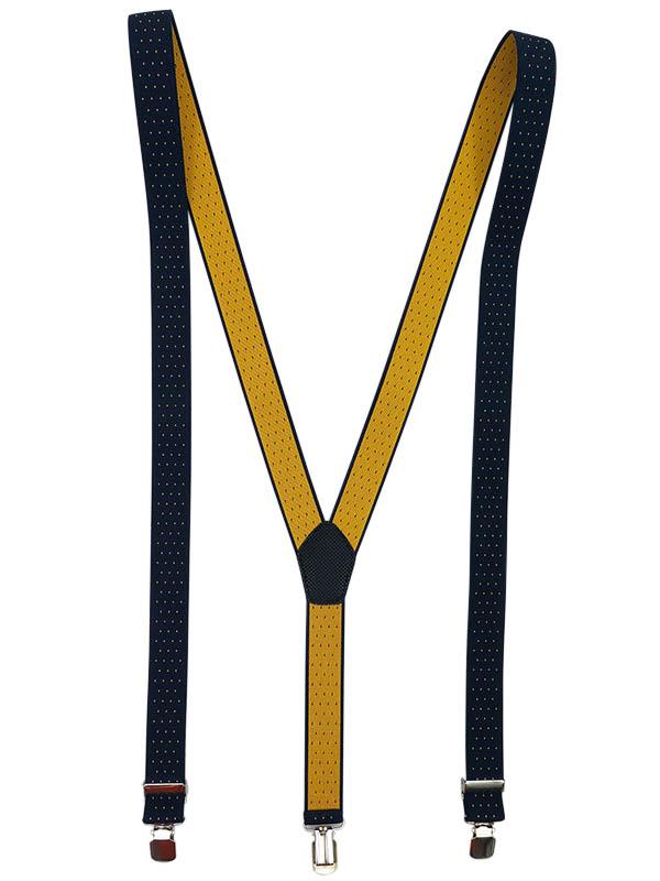 Granatowe szelki w żółte kropki wąskie unisex - 2,5cm x32