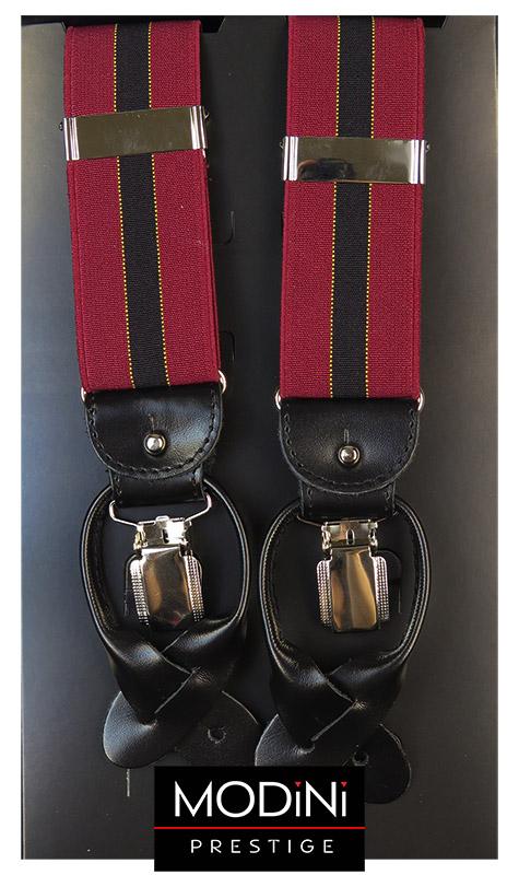 Bordowe szelki na guziki z czarnym paskiem