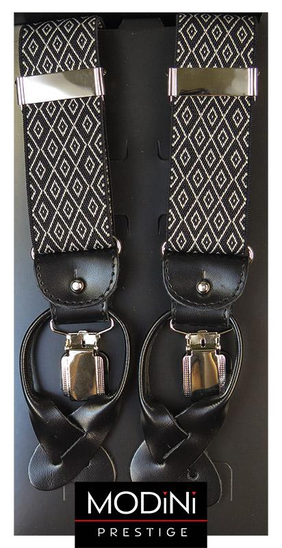 Czarne szelki na guziki - drobne białe romby