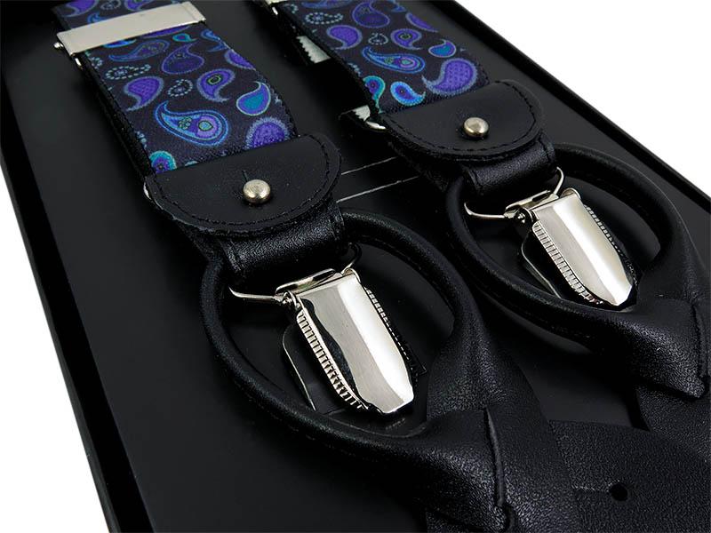 Czarno-fioletowe szelki we wzór paisley na żabki i na guziki G66