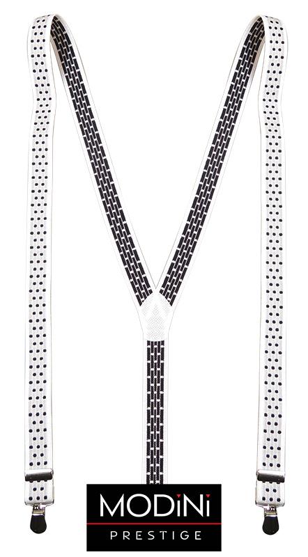 Biało-szare szelki do spodni w grochy