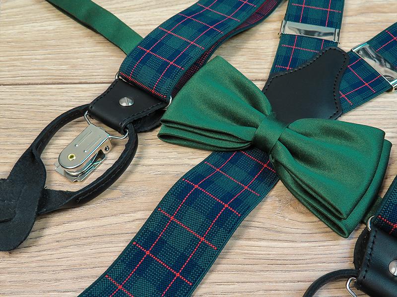 Zielone szelki na guziki w granatowo-czerwoną kratkę G36