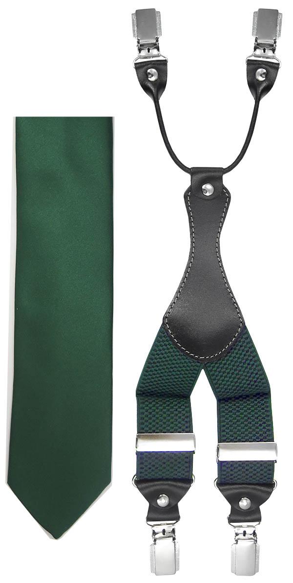 Ciemnozielony zestaw - szelki i krawat Z46