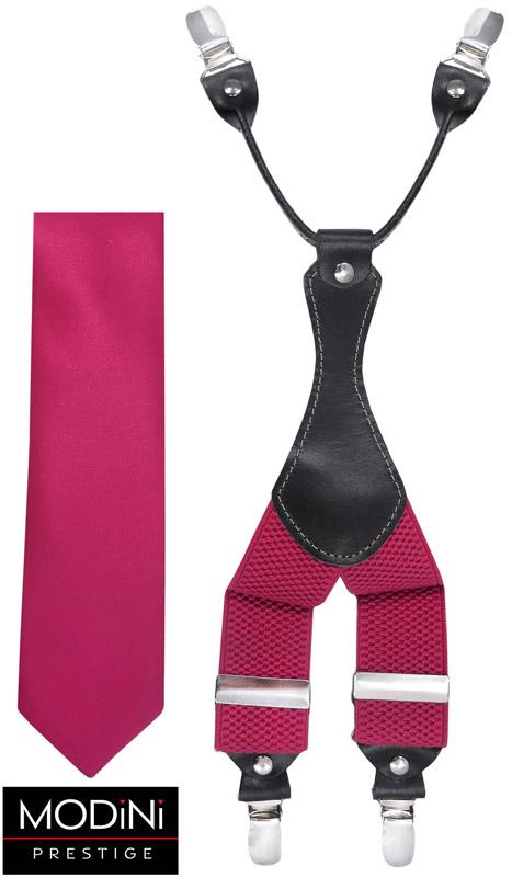 amarantowy zestaw - szelki i krawat
