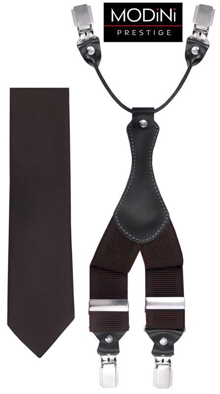 brązowy zestaw - szelki i krawat