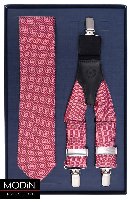czerwony zestaw w kółka - szelki i krawat