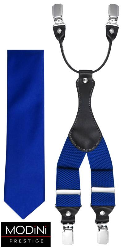 kobaltowy zestaw - szelki i krawat